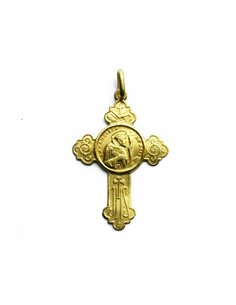 18 K Gold Cross Saint Francis of Assisi SB1127