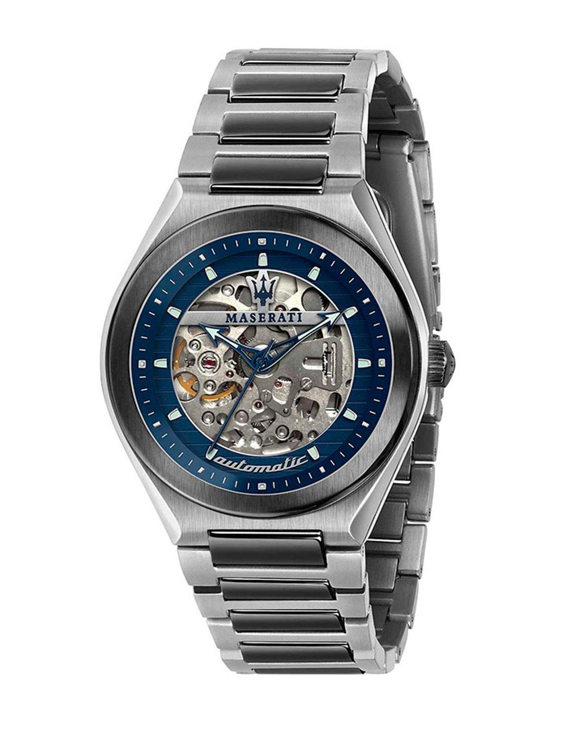 Maserati Watch R8851108015 Potenza Date Window Luminescent-Blue / Stainless Steel