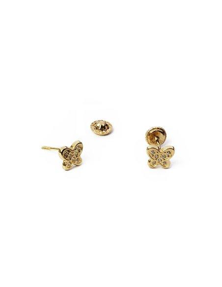 18 K Gold Earrings BABY Small Butterflies 132408