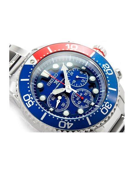 """Seiko SSC019P1 Seiko Solar PROSPEX Diver """"PEPSI"""" Watch"""