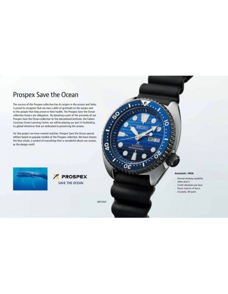 Seiko Prospex Diver´s 200 m Turtle Save The Ocean Automatic Limited Edition Watch SRPC91K1