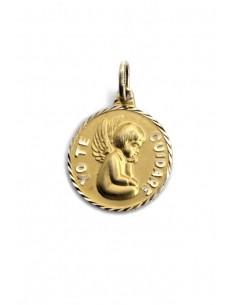 Colgante Oro 18 K Medalla Ángel de la Guarda 120219