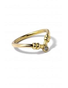 Anillo Oro 18 K Curved Single Stone A102561