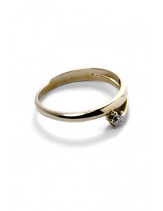 18 K Gold Ring Curved Love Stone A124121
